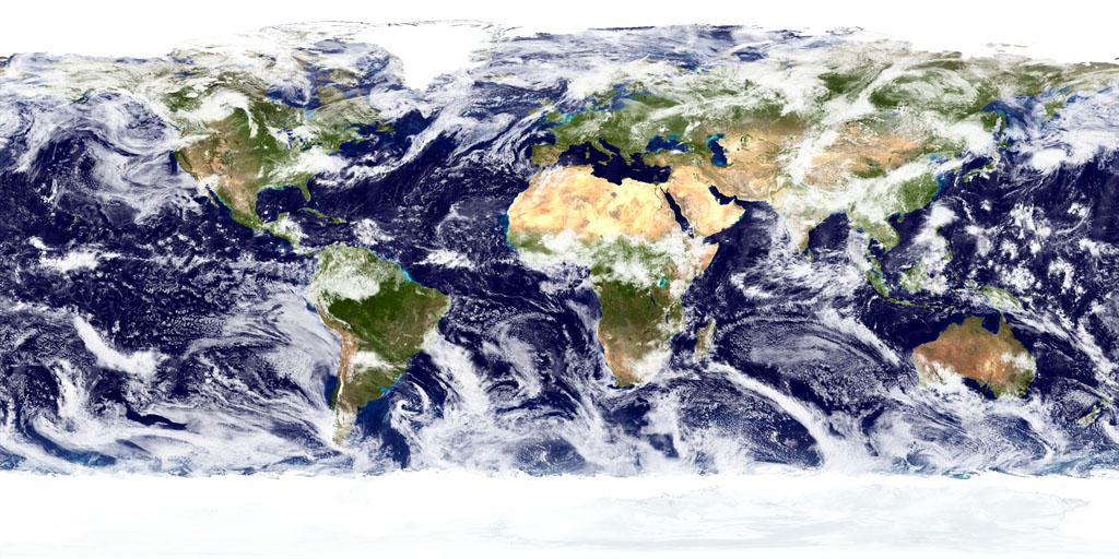 True-color image of the Earth's surface and atmosphere. NASA Goddard Space Flight Center image.