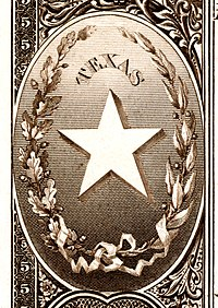 Texas state coat of arms from the reverse of the National Bank Note Series 1882BB