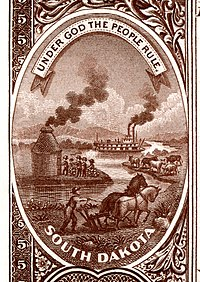 South Dakota state coat of arms from the reverse of the National Bank Note Series 1882BB