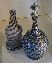 glass jugs with threads of sparkle