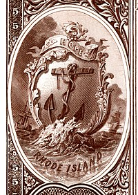 Rhode Island state coat of arms from the reverse of the National Bank Note Series 1882BB