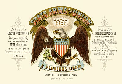 Title page of State arms of the union with the Great Seal of the United States illustrated