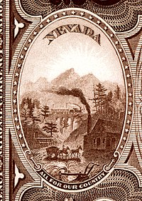 Nevada state coat of arms from the reverse of the National Bank Note Series 1882BB