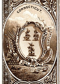 Connecticut state coat of arms from the reverse of the National Bank Note Series 1882BB