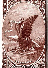 Alabama state coat of arms from the reverse of the National Bank Note Series 1882BB