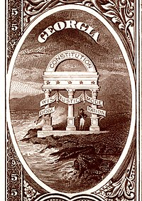 Georgia state coat of arms from the reverse of the National Bank Note Series 1882BB