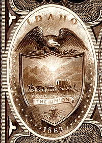 Idaho Territory coat of arms from the reverse of the National Bank Note Series 1882BB