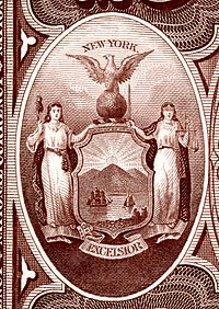 New York state coat of arms from the reverse of the National Bank Note Series 1882BB