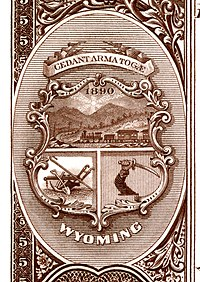 Wyoming territory coat of arms from the reverse of the National Bank Note Series 1882BB
