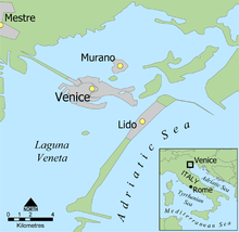 map of Venice, Murano, and Italy