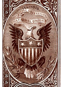 Illinois state coat of arms from the reverse of the National Bank Note Series 1882BB